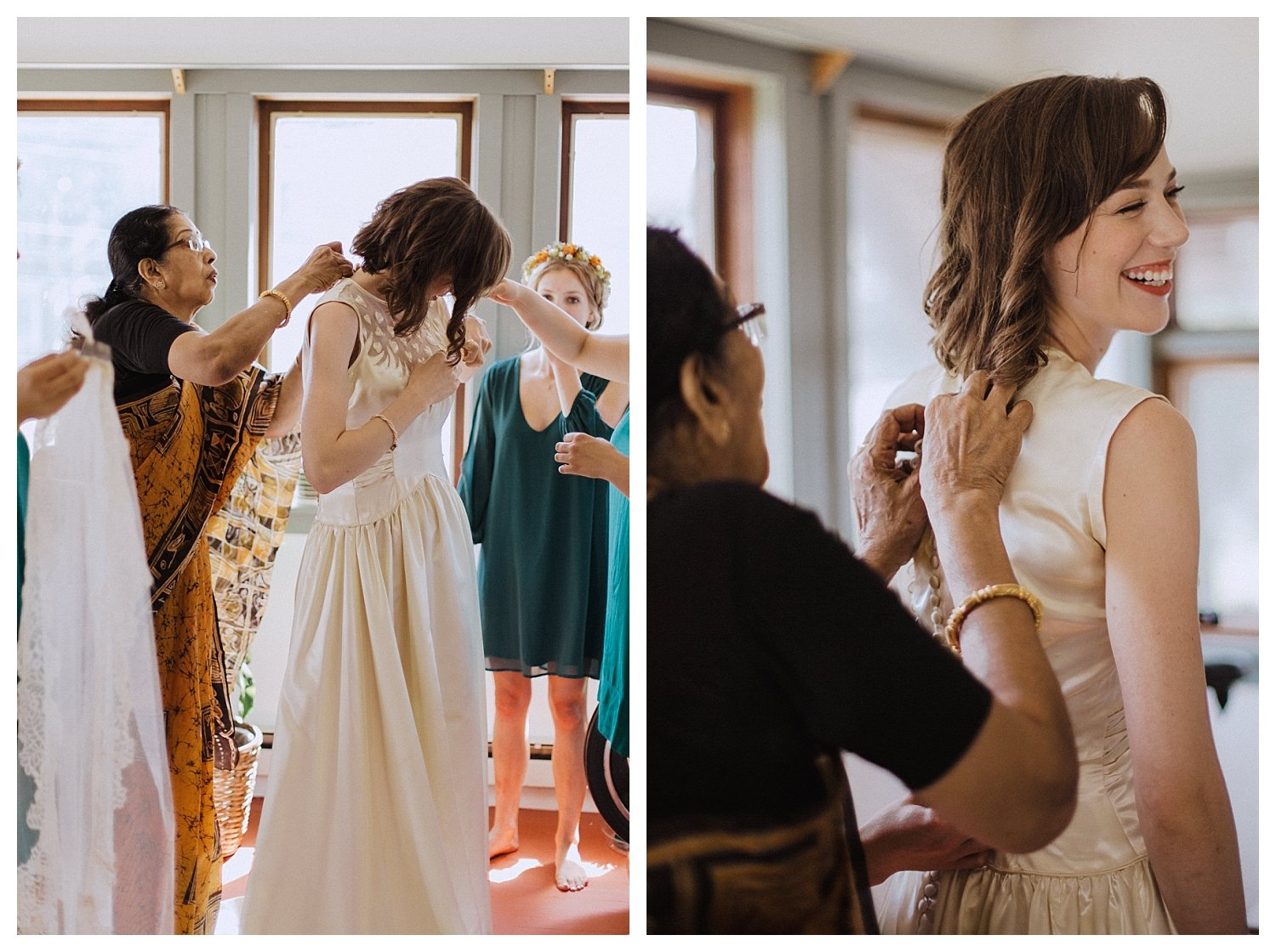 Champaign bride putting on her wedding dress