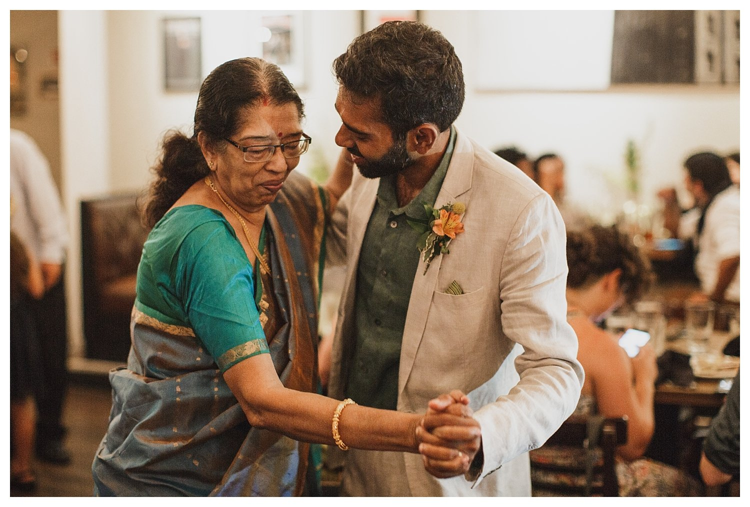 Champaign wedding dancing mother son