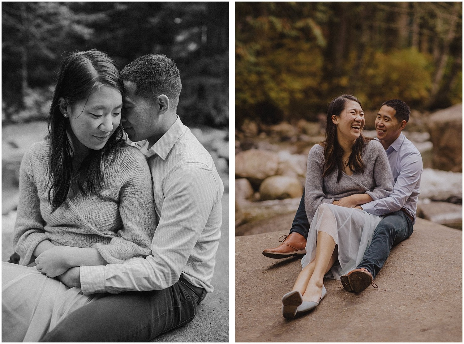 Couple laughing on a rock Seattle Wedding and Elopement Photographer Kyle Szeto