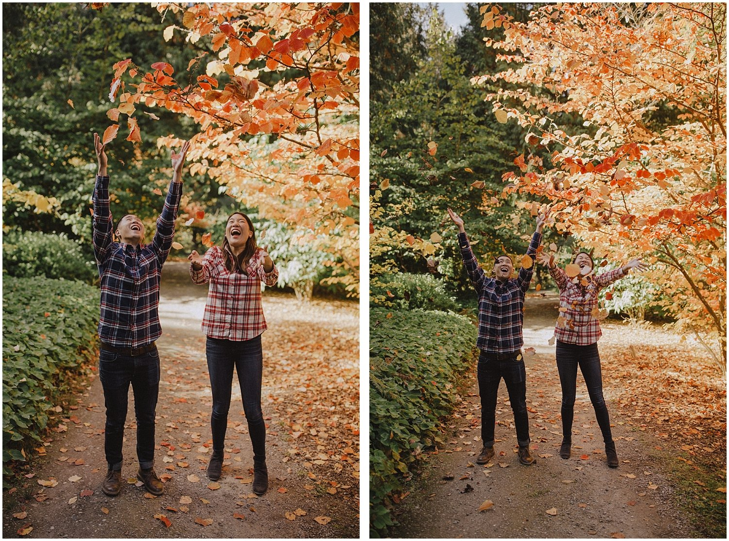 Couple throwing leaves in the air Seattle Wedding and Elopement Photographer Kyle Szeto