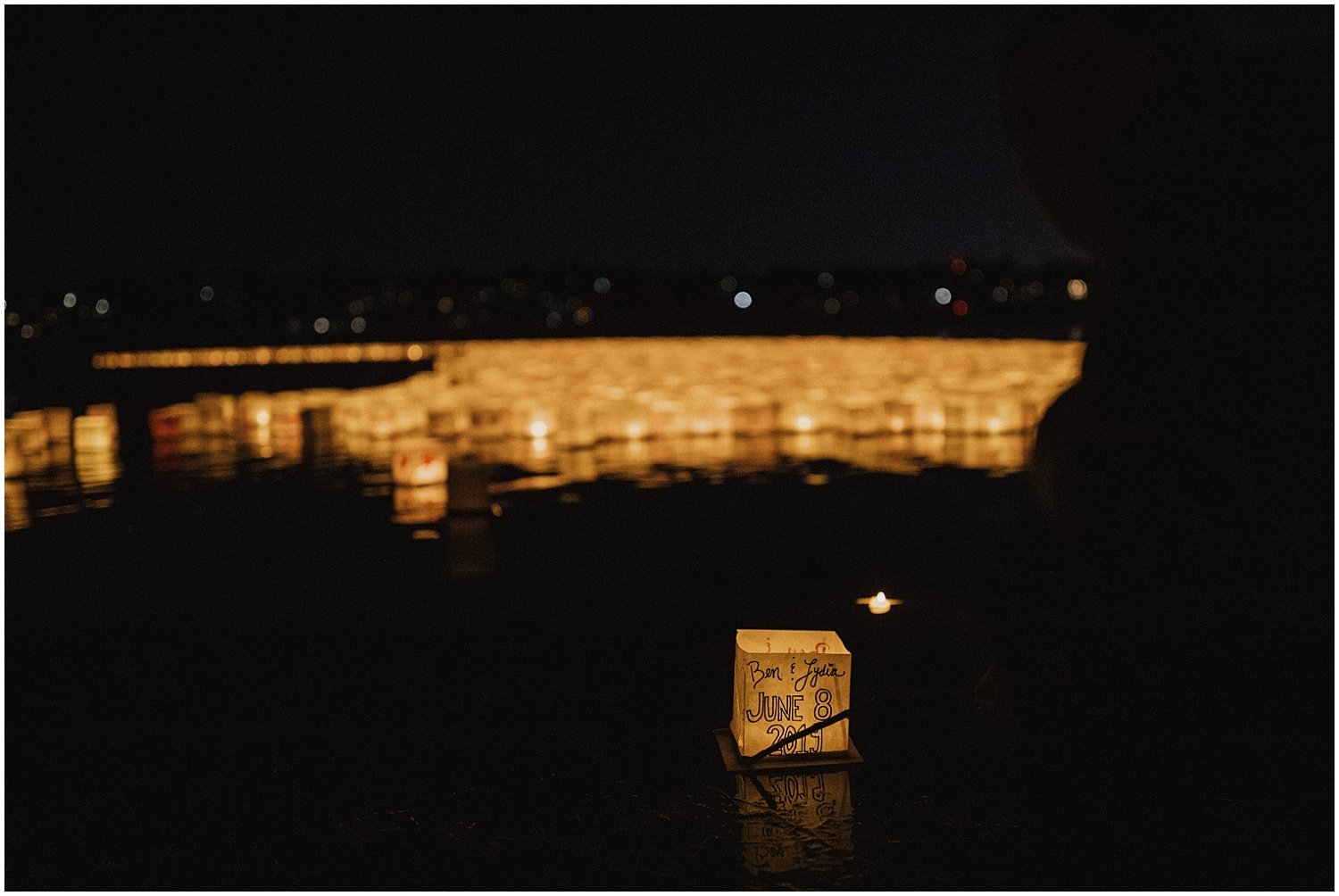 Lantern floating in water Seattle Wedding and Elopement Photographer Kyle Szeto