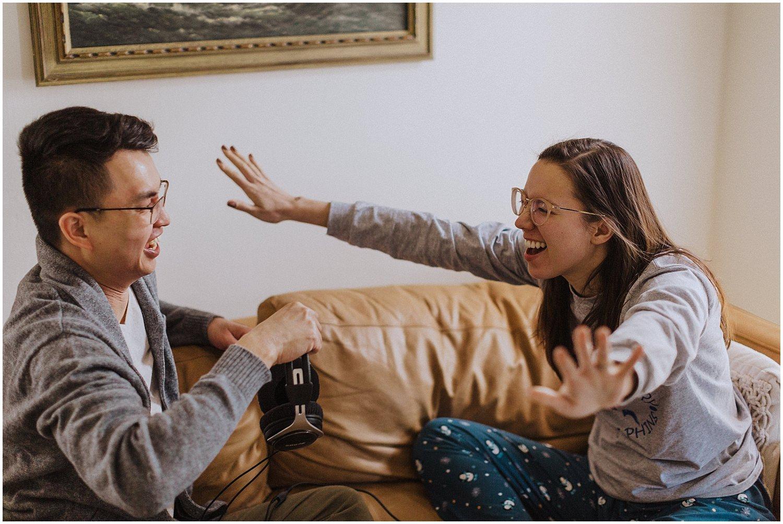 in home couple having fun michigan
