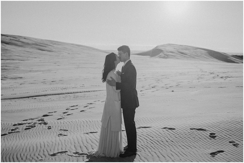 desert inspired elopement couple kissing