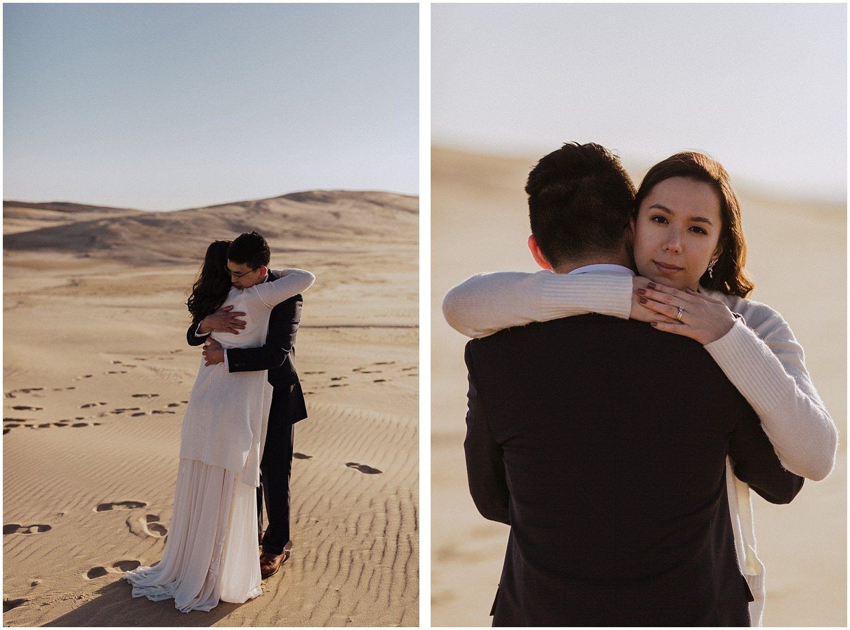 desert inspired elopement couple hugging