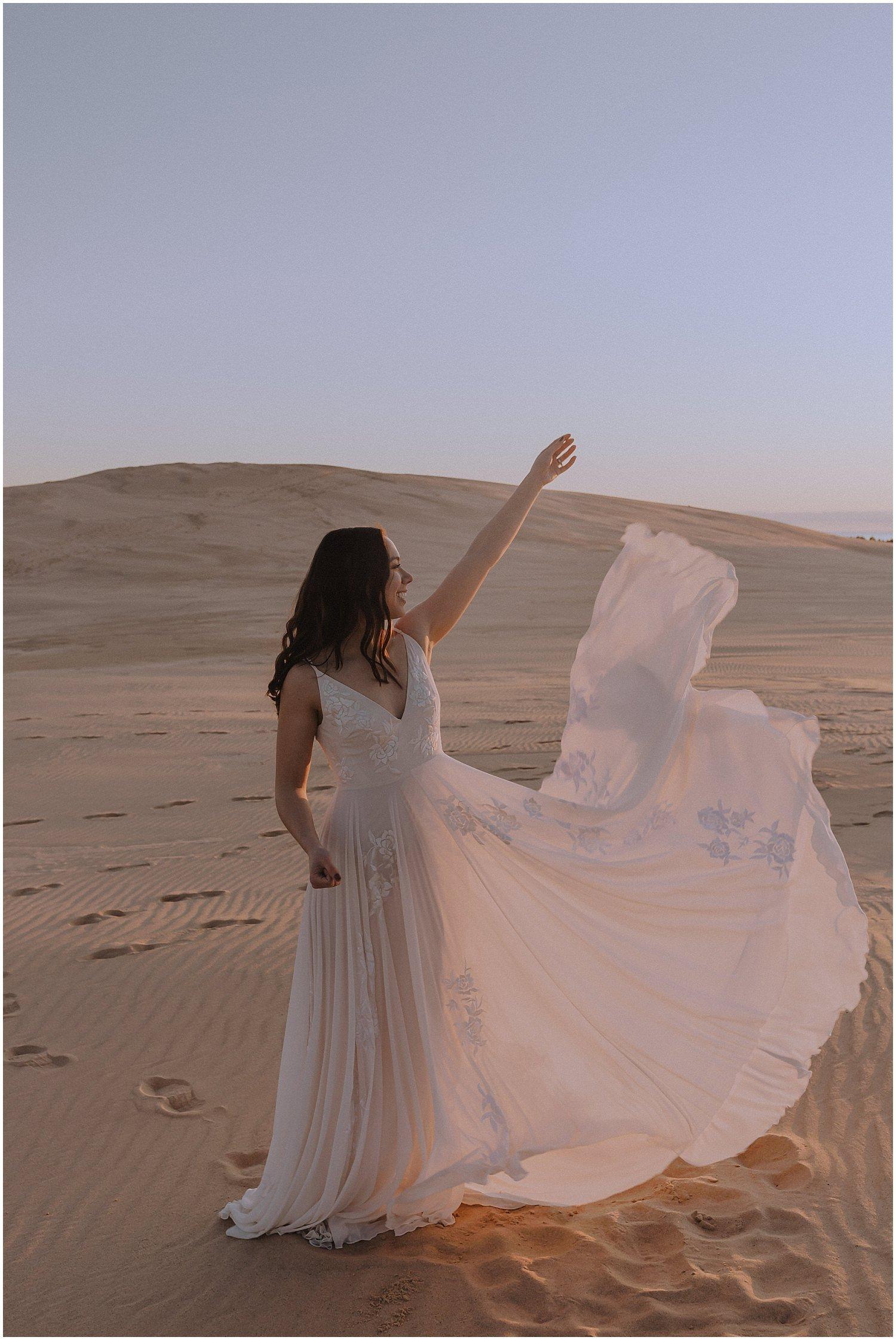 desert inspired elopement bride with her dress