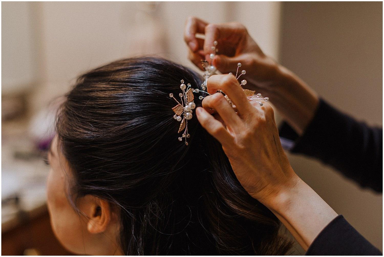seattle wedding bride getting her hair done