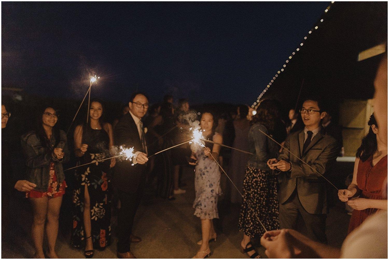 thomas family farm seattle snohomish wedding sparklers