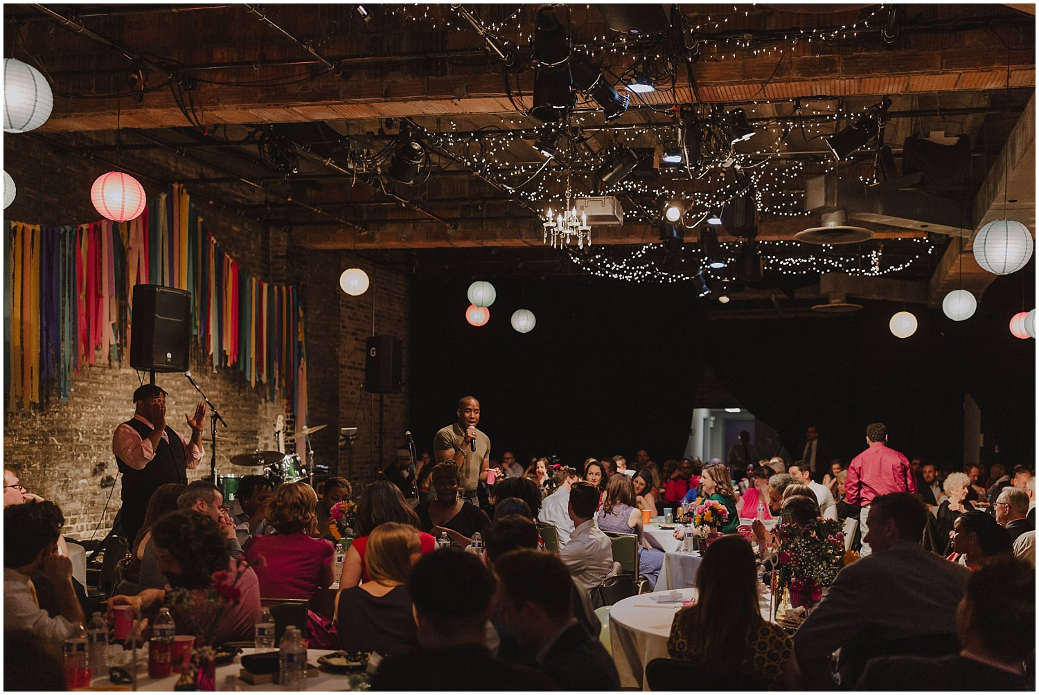 Intimate Filament Theater Chicago Wedding Reception Variety Show