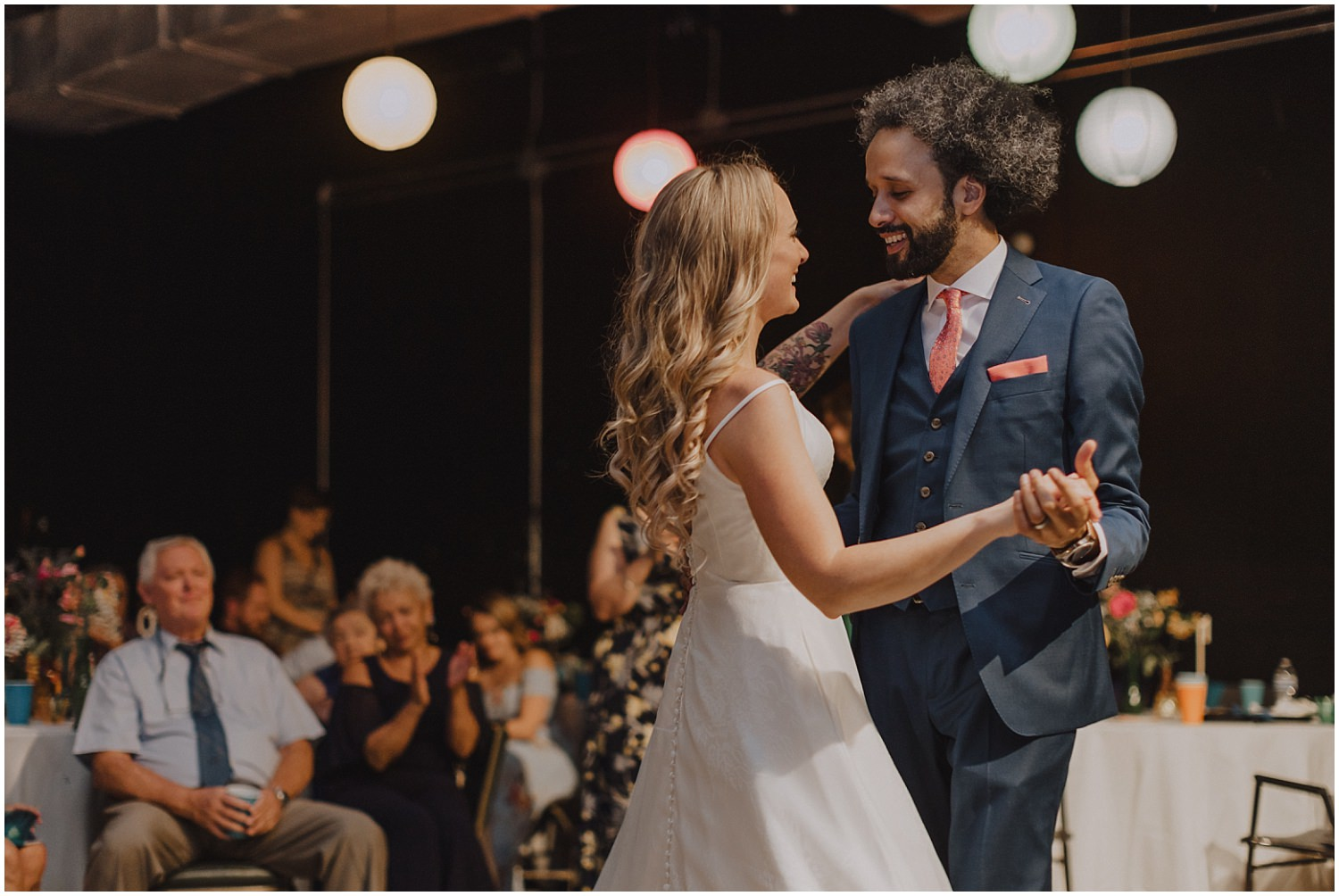 Intimate Filament Theater Chicago Wedding Reception First Dance