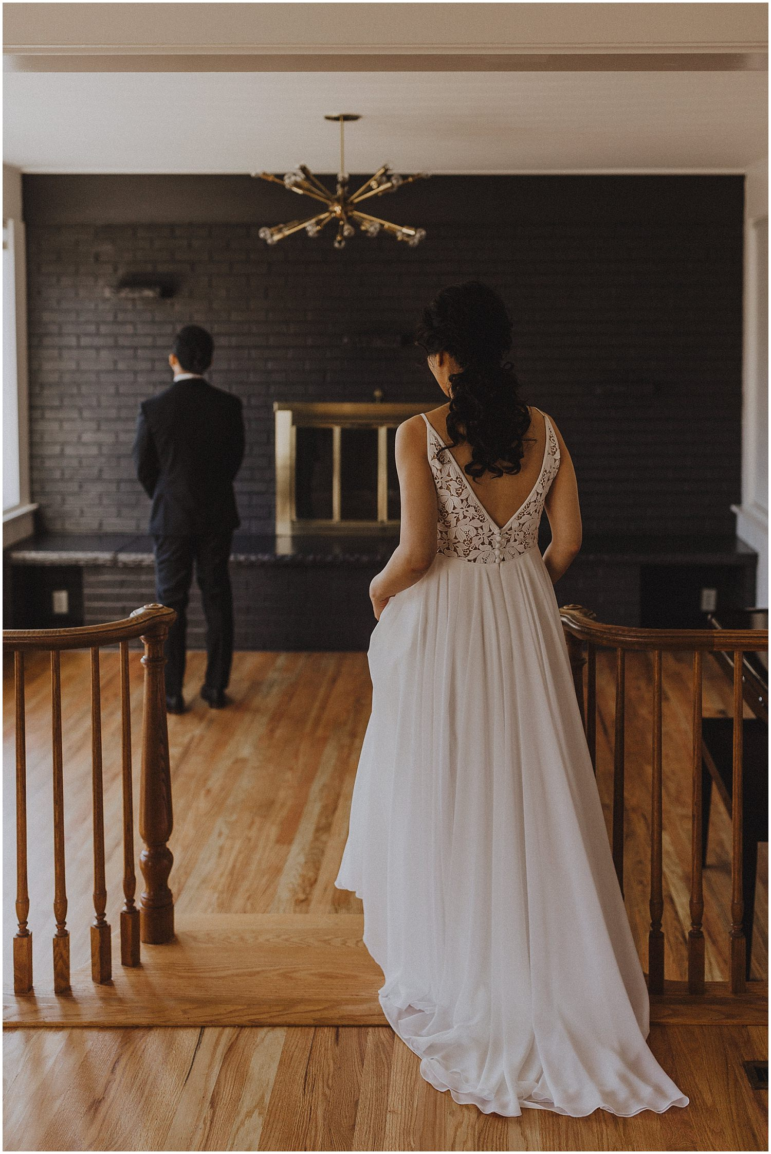 bride walking up behind the groom Chicago wedding photographer kyle szeto