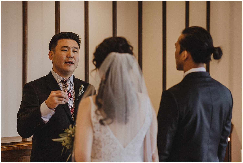 in home wedding ceremony Chicago wedding photographer kyle szeto