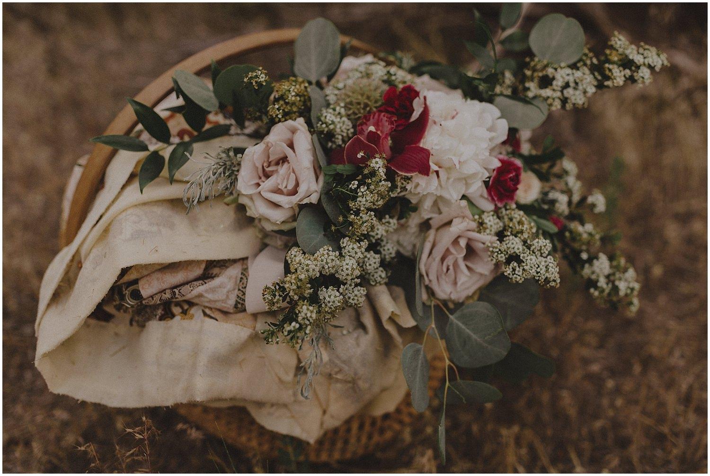 Wedding bouquet in a basket oregon elopement and wedding photographer kyle szeto