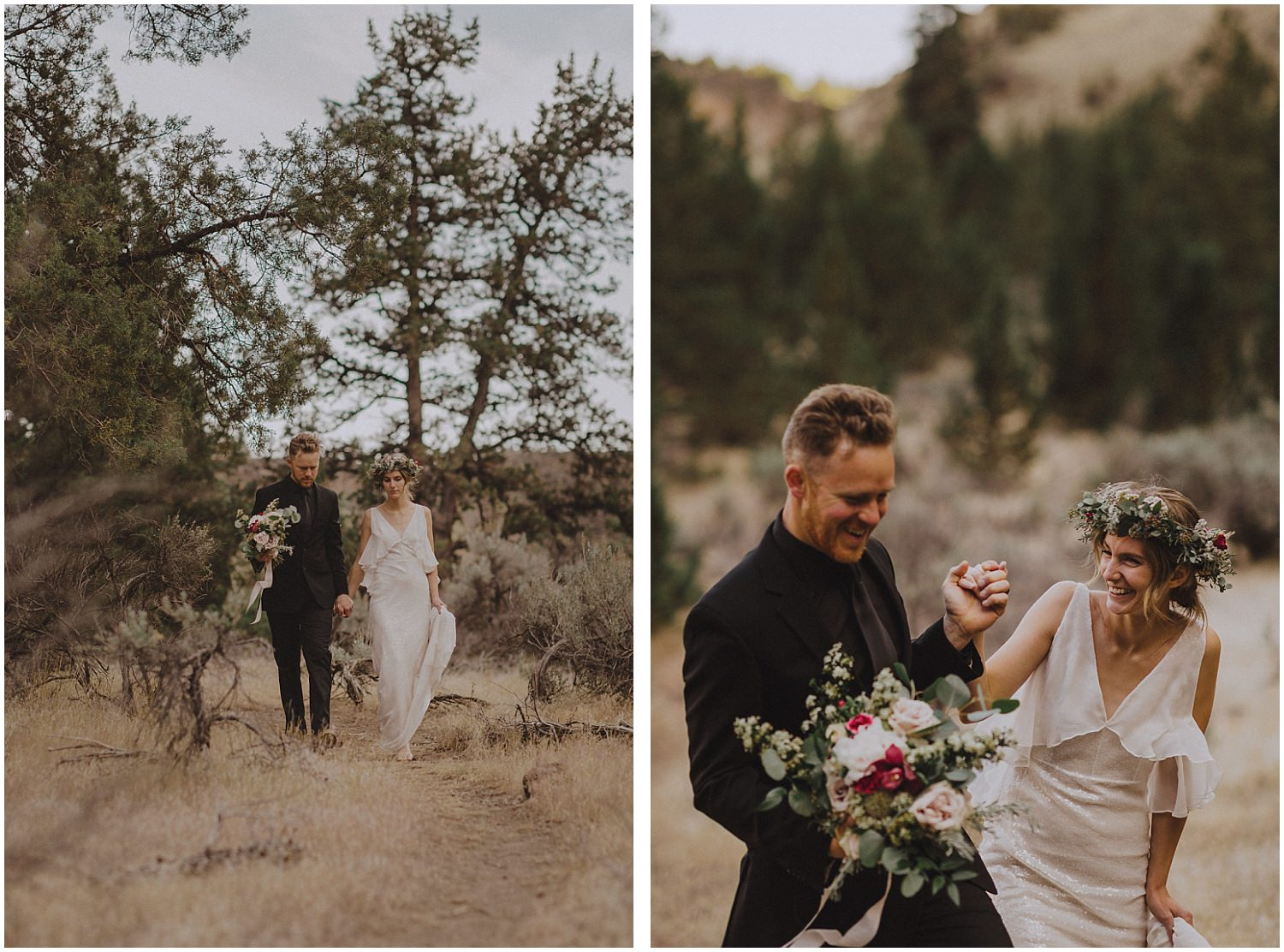 Smith Rock elopement couple walking and laughing together oregon elopement and wedding photographer kyle szeto