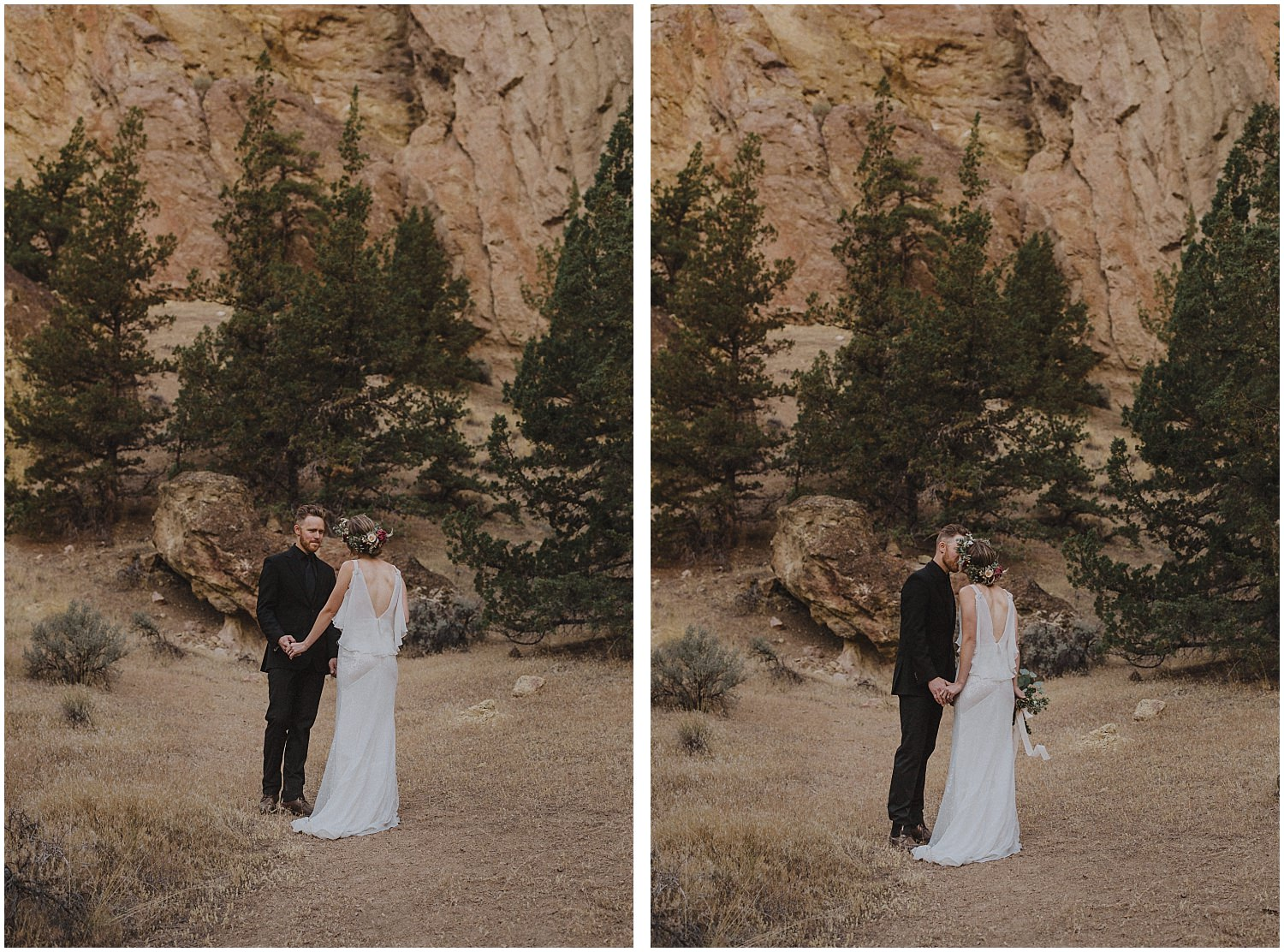 wedding couple kissing in front of a mountain oregon elopement and wedding photographer kyle szeto
