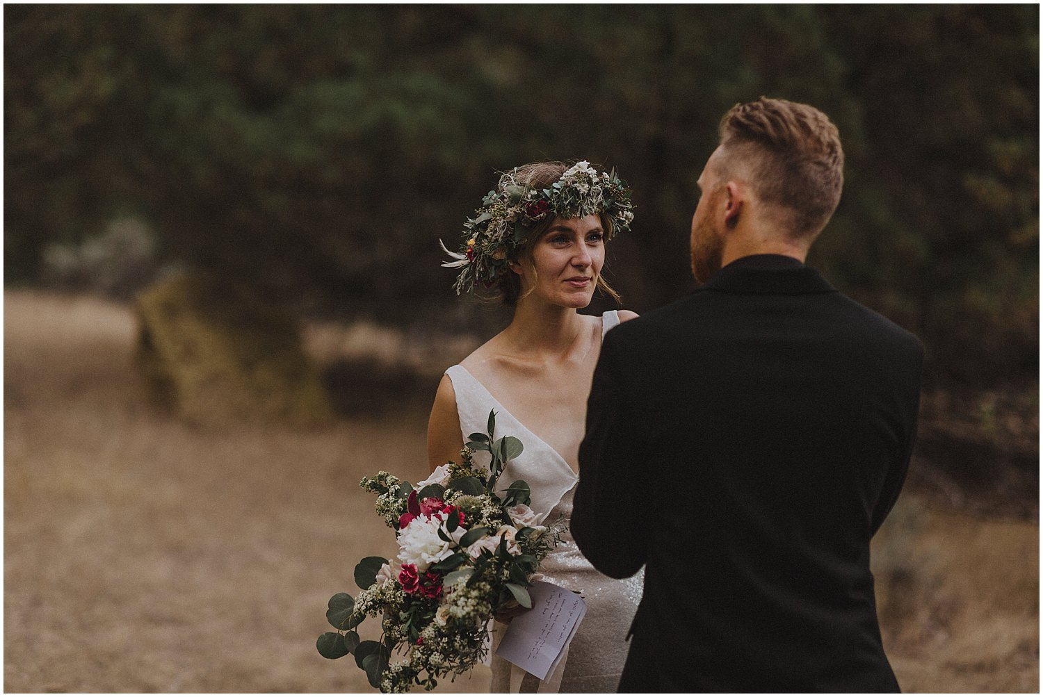 bride tearing up during vows oregon elopement and wedding photographer kyle szeto
