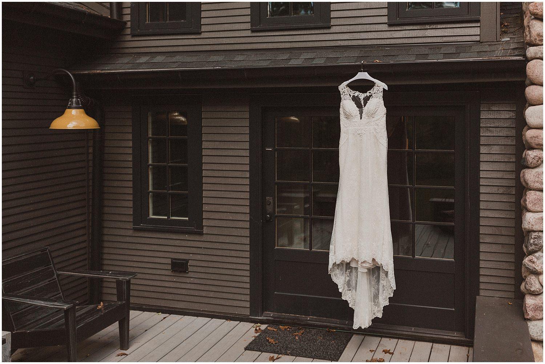 wedding dress hanging wisconsin wedding elopement photographer kyle szeto