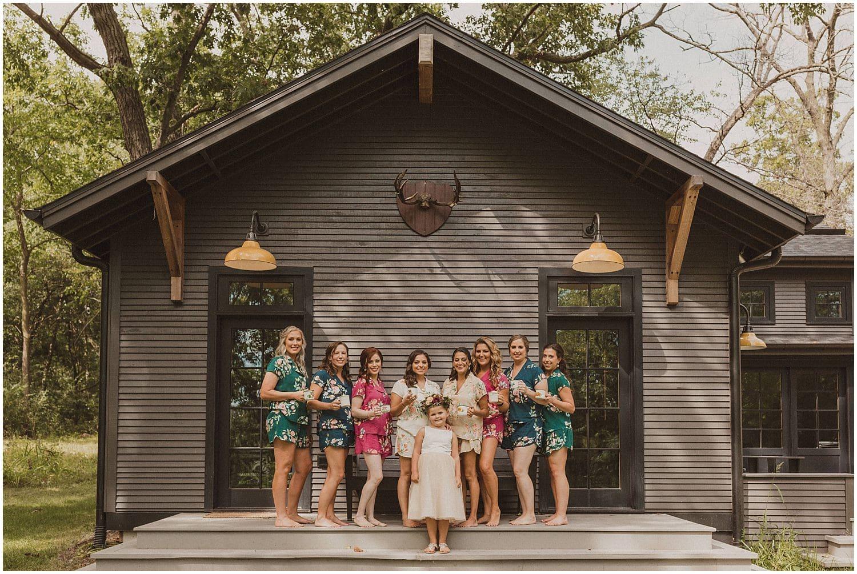 bride with her bridesmaids wisconsin wedding elopement photographer kyle szeto