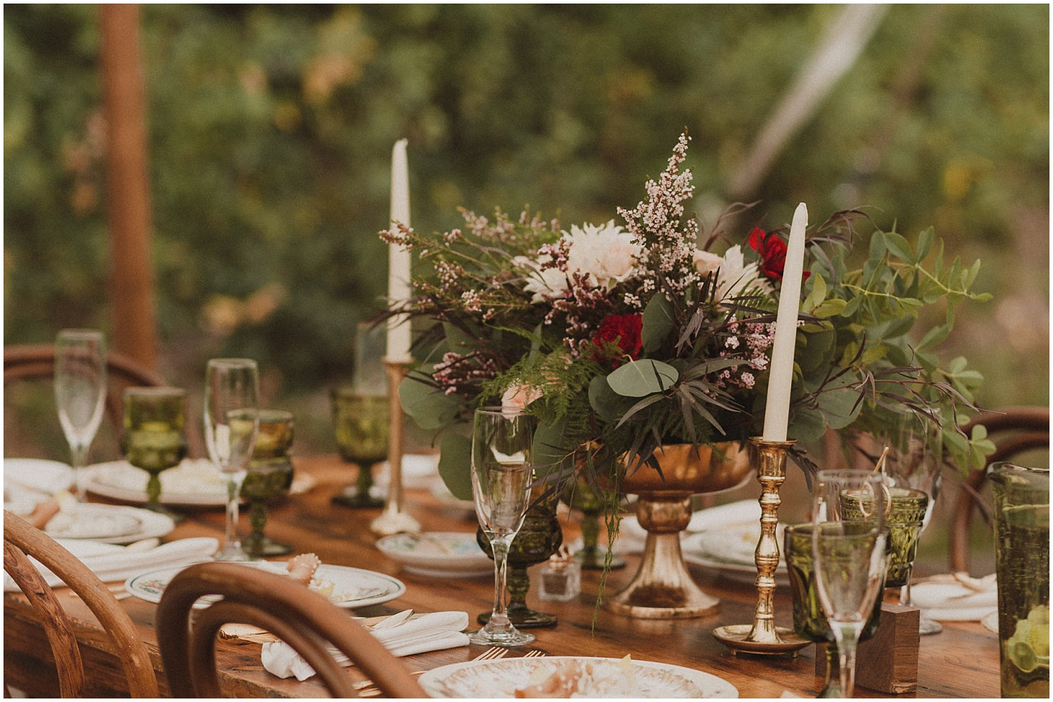 bouquet sitting on reception table