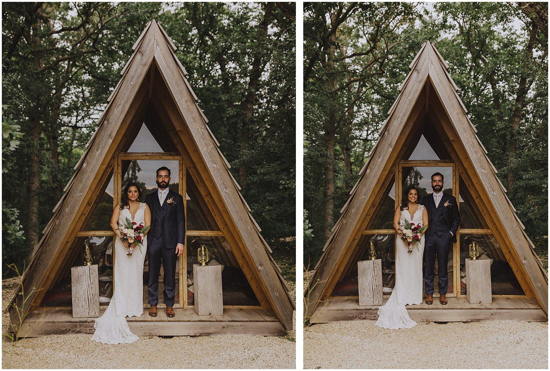 wedding couple standing in A Frame cabin wisconsin wedding elopement photographer kyle szeto