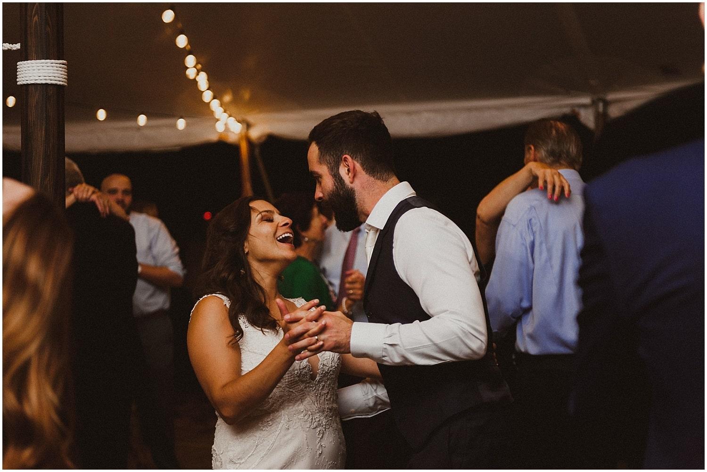 couple dancing camp wandawega wedding reception wisconsin wedding elopement photographer kyle szeto
